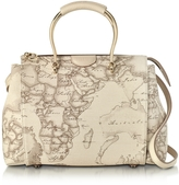 Alviero Martini Medium Princess Geo Safari Print Satchel Bag w/Cream Leather Details