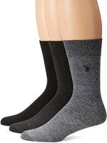 U.S. Polo Assn. Men's 3 Pack Flat Knit Crew Sock