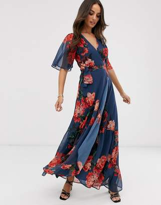 Hope & Ivy wrap front boho maxi dress in blue floral print