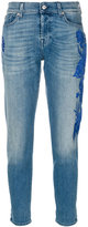 7 For All Mankind embroidered slim-fit jeans