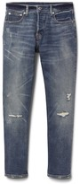 Gap Mid rise button-fly destructed straight jeans