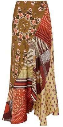 Chloé Asymmetric Patchwork-effect Printed Silk-twill Maxi Skirt