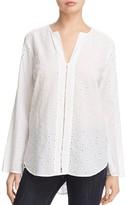 Side Stitch Bell Sleeve Eyelet Cotton Tunic