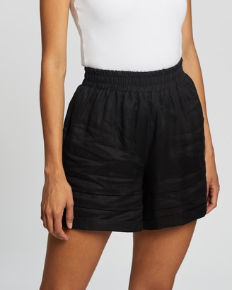 AERE - Women's Black High-Waisted - Pleat Detail Pull-On Shorts - Size 6 at The Iconic