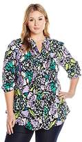 Melissa McCarthy Women's Plus Size Classic Tie Back Pintuck Blouse