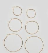 Reclaimed Vintage Inspired Simple 3 Pack Hoop Gold Earrings