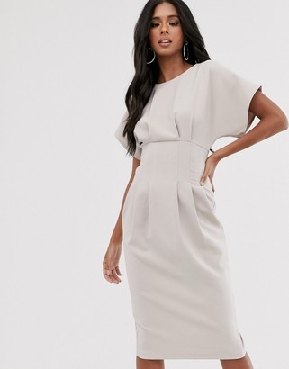 Asos Design DESIGN nipped in waist midi pencil dress-Grey