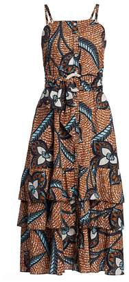 Figue Marina Belted Print Midi Flare Dress