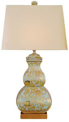East Enterprises Inc Porcelain Table Lamp, Gold and Aqua