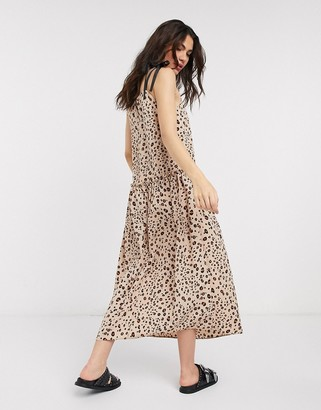 Topshop dropped waist midi dress in animal print