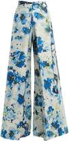 BY. BONNIE YOUNG Floral-print wide-leg cotton-blend wrap trousers