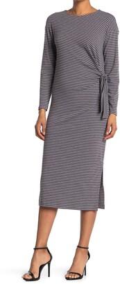 MelloDay Cozy Striped Long Sleeve Side Tie Midi Dress