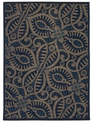 Waverly Color Motion Blue/Black Area Rug Rug Size: Rectangle 5' x 7'