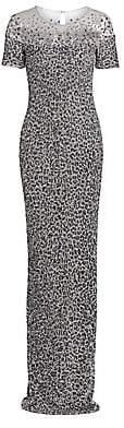 Pamella Roland Women's Snow-Leopard Sequin Gown
