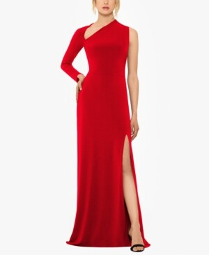 Betsy & Adam One-Sleeve Gown