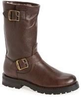 Frye Women's Natalie Buckle Strap Engineer Genuine Shearling Lined Boot