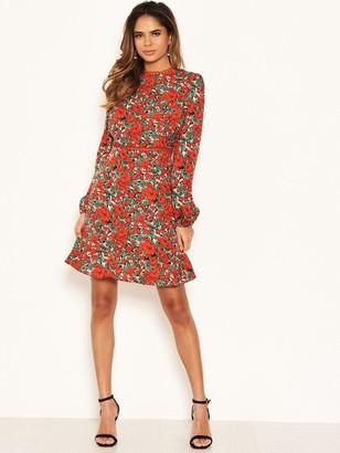 AX Paris Floral Crochet Trim Dress - Red
