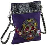 Zeckos Embroidered Sugar Skull Rhinestone Trim Crossbody Purse