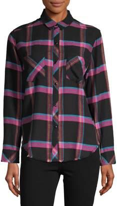 Rails Frayed-Hem Plaid-Print Shirt
