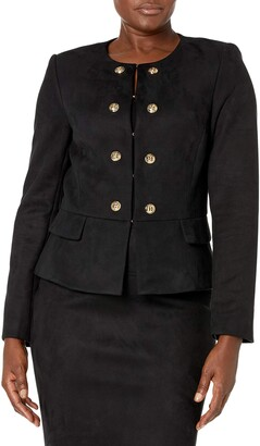 Tahari ASL Women's Collarless Peplum Jacket
