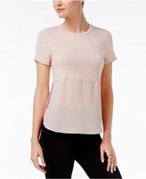 Bar III Short-Sleeve Contrast Top, Created for Macy's