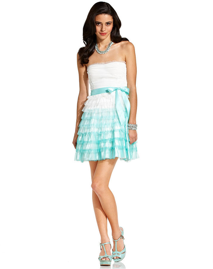 Teeze Me Juniors Dress, Strapless Tiered Ombre-Print