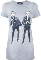 DSQUARED2 manga print destroyed T-shirt - women - Cotton/Viscose - S