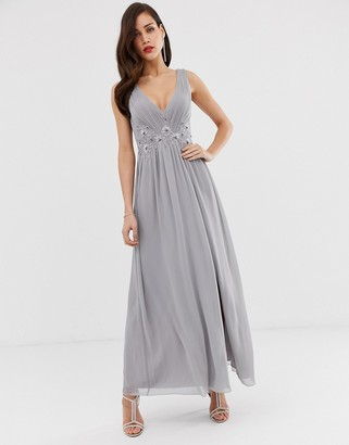 Little Mistress tulle maxi dress with side split and lace detail