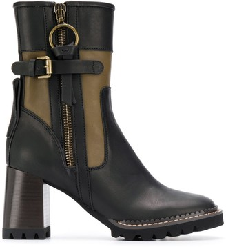 See by Chloe colour block chunky heel boots