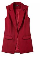 EYYYZIQ CU@EY Women's Solid Red / White / Black / Blazer,Simple Notch Lapel Sleeveless