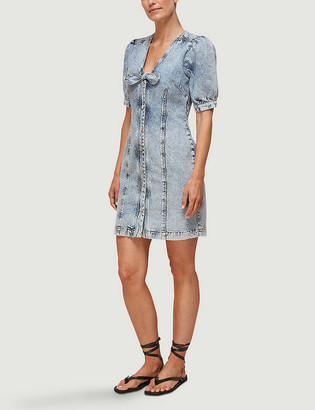 Whistles Acid wash denim mini dress
