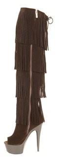"The Highest Heel Halloween Women's 6"" Micro Suede Thigh High Fringe Boot"