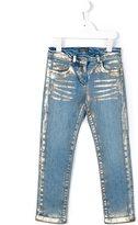Roberto Cavalli metallic print jeans