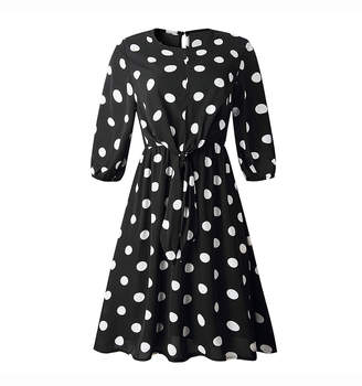 CELLABIE Women's Casual Dresses Black - Black Polka Dot Tie-Front A-Line Dress - Women