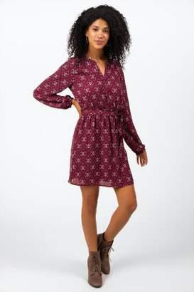 francesca's Nakita Scarf Print Dress - Burgundy