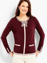 Talbots Tipping & Bow Charming Cardigan