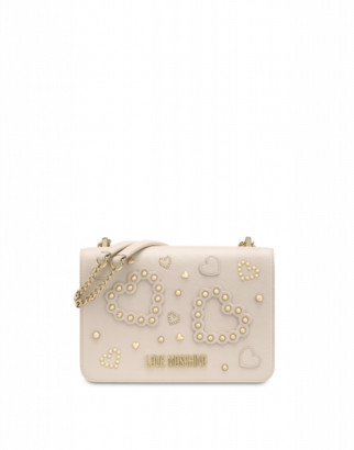 Love Moschino Shoulder Bag With Hearts And Studs Woman White Size U It - (one Size Us)
