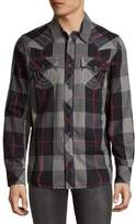 True Religion Windowpane Plaid Cotton Shirt