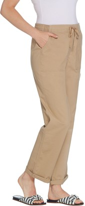 Martha Stewart Petite Stretch Canvas Pull-On Pants with Drawstring