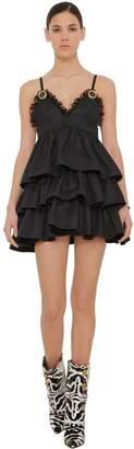 Fausto Puglisi Ruffled Cotton Gabardine Mini Dress