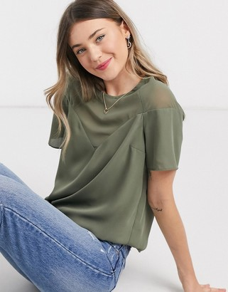 ASOS DESIGN sheer and solid tee with sweetheart neckline in khaki