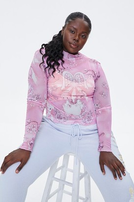 Forever 21 Plus Size Precious Moments Sheer Mesh Top