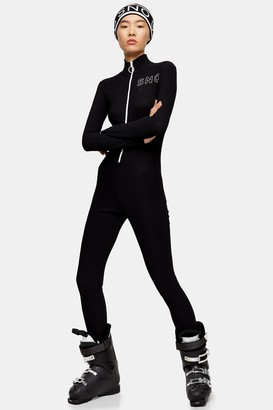 Topshop Womens **Black Ribbed All In One Jersey Ski Suit By Sno - Black