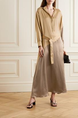 Santana Asceno ASCENO - Net Sustain Oversized Two-tone Silk-satin Maxi Dress - Gold