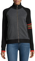 525 America Bomber-Style Zip-Front Sweater, Gray