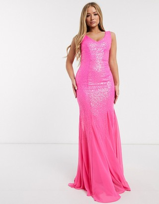 Goddiva fishtail sequin maxi dress in pink