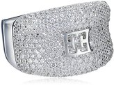 Escada Sterling Silver Thick with Emblem and Cubic Zirconia Ring, Size 7