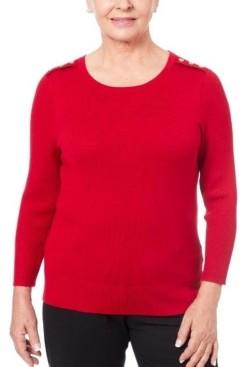 Joseph A Women's Petite Shoulder Trim Sweater