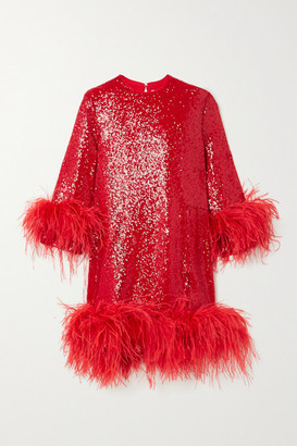 16Arlington Billie Feather-trimmed Sequined Crepe Mini Dress - Red