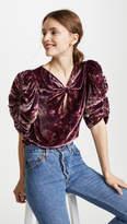 Rebecca Taylor Short Sleeve Jewel Velvet Top